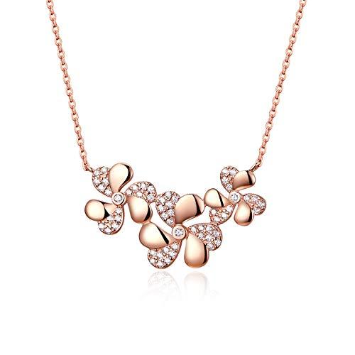 Bijoux Blu 925 Sterling Zilver Drievoudige Bloem Korte Metalen Choker Ketting voor Vrouwen Rose Goud Kleur Mode Sieraden