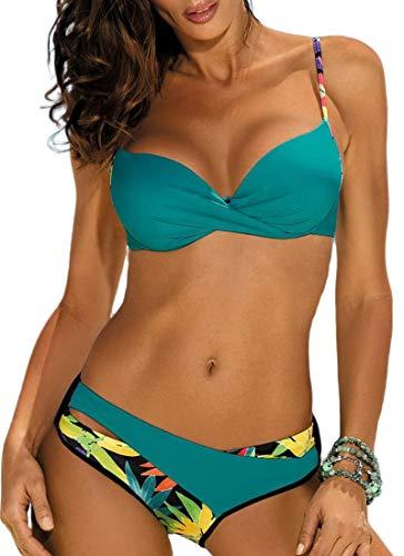 JFAN Costume da Bagno Donna Push Up Imbottito con Ferretto Costume da Bagno Floreale Colori Caramelle Bikini Verde M