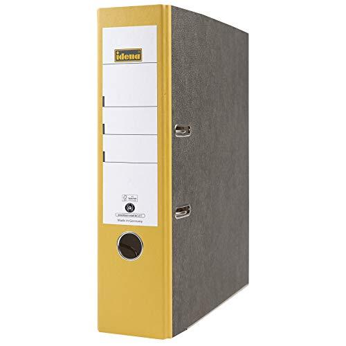 Idena 303064 - Ordner für DIN A4, 8 cm breit, FSC-Mix, Wolkenmarmor, gelb, 1 Stück