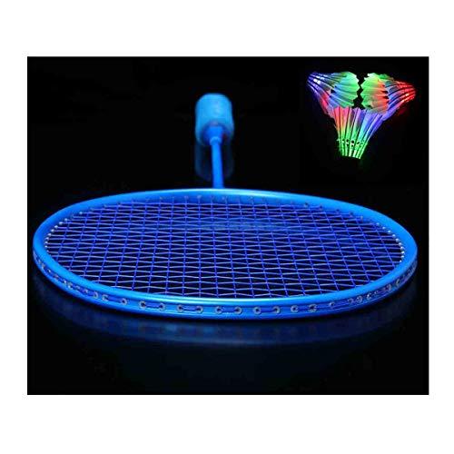 GUOHAPPY Federball Set Erwachsene, LED Badminton Schläger Federballschläger Set Für Training,Profi Badmintonschläger Leichtgewicht Badminton(Verschiedene Optionen),Blau,4U
