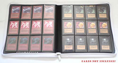 docsmagic.de Premium Pro-Player 12-Pocket Playset Zip-Album White - 480 Card Binder - MTG - PKM - YGO - Reissverschluss Weiss