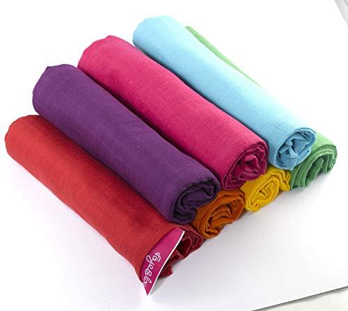 Juego de 7 pañales de muselina de algodón de alta calidad, 100 % algodón natural, 60 x 60 cm, con certificado EKO-Tex Standard