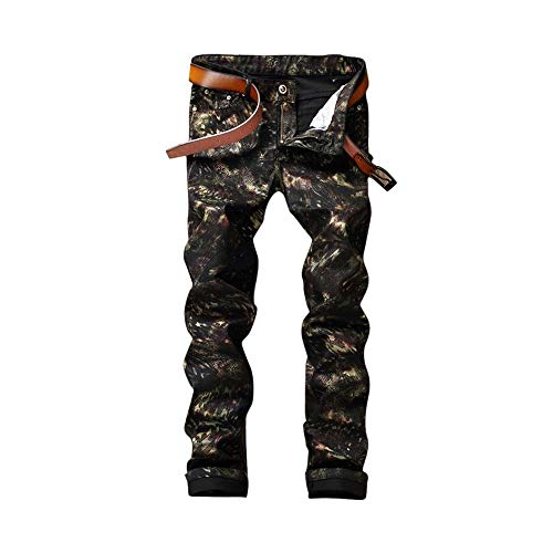 LNLW Mannen Biker Jeans Printed Pants Casual Broek Tight Black Print Pants (Size : 30)