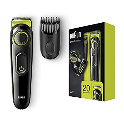 Braun BT3021 Beard Trimmer Lifetime Sharp Blades Black/Volt Green, 2 pin plug by Procter & Gamble