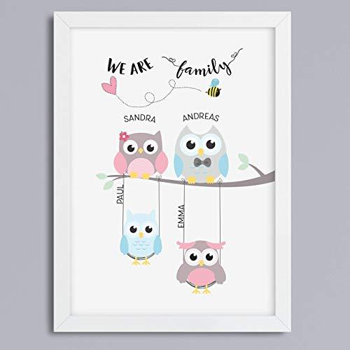 Eulen-Familie personalisierbar - Kunstdruck Geschenkidee Familienbild optional mit Rahmen