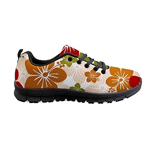Shinelly Sportschoenen voor heren, bruine bloemenpatroon, loopschoenen, sneakers, ademend, lichte trailloopschoenen