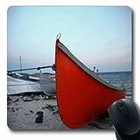 マウスパッド乗り物いくつかのボート曇りの日に廃止された海岸素朴な長方形の形状長方形のゲームマウスパッド滑り止めラバーマット