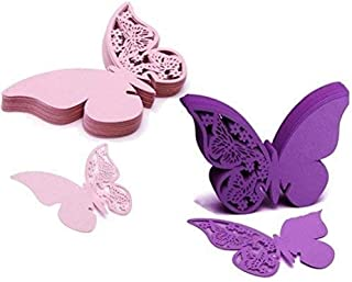 WarmShine 100 Pcs Butterfly Wine Glass Cards Name Place Cards Laser Cut Wine Cup Decoration Postcards Wedding Centerpieces Table Decoration (Pink&Purple)