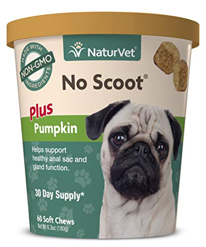 NaturVet - No Scoot for Dogs - 60 Soft Chews - Plus Pumpkin - Supports Healthy Anal Gland & Bowel Function - Enhanced with Beet Pulp & Psyllium Husk