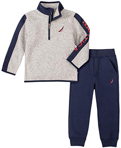 Nautica Boys' 2 Pieces Pullover Pants Set, Gray/Navy, 3T