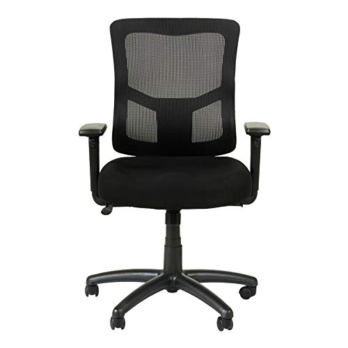 Alera Elusion II Series Mesh Mid-Back Swivel/Tilt Chair with Adjustable Arms, Black