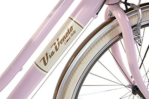 Via Veneto By Canellini Fahrrad Rad Citybike CTB Frau Vintage Retro Via Veneto Alluminium (Rose, 46) - 4
