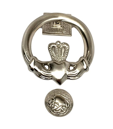 "Robert Emmet Company Irish Door Knocker Claddagh Design Silver Plated Celtic Knot Accents Mounting Hardware & Instructions Included 5"" Diameter Housewarming"