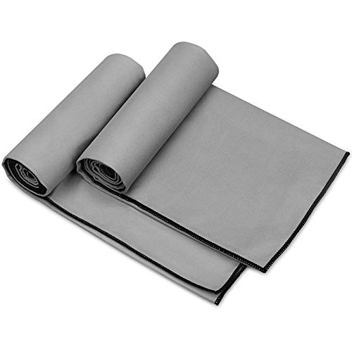 Awenia Camp Towel Quick Dry Microfiber Towel 2 Pack (48 x 24''), Compact Travel Towel for Gym, Sports, Hiking, Backpacking, Beach,Yoga,Swimming with Carry Bag (Grey 2 Pack, 48'' x 24'')