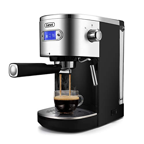 Espresso Machines 20 Bar Coffee Machine with Milk Frother Wand for Espresso, Cappuccino, Latte and Mocha, 1.5L large Removable Water Tank and Double Temperature Control System, Blcak, 1350W