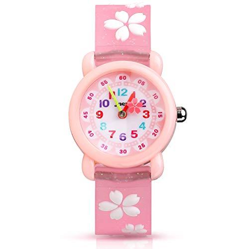 Kinder Uhr, Armbanduhr für Kinder Mädchen, 30M wasserdichte Analog Quarzuhr, 3D Cute Cartoon Uhr, Digitale Kinderuhr, Teaching Handgelenk Uhren mit Silikon Armband, Kids Watch.-Rosa
