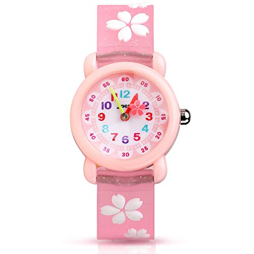 Kinder Uhr, Armbanduhr für Kinder Mädchen, 30M wasserdichte Analog Quarzuhr, 3D Cute Cartoon Uhr, Digitale Kinderuhr, Teaching Handgelenk Uhren mit Silikon Armband, Kids Watch.-Rosa