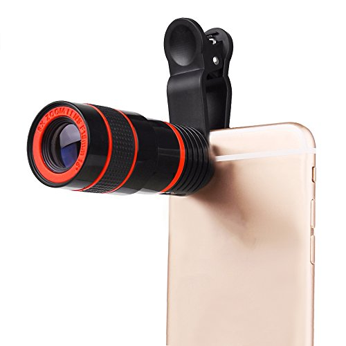 Clip on Cellphone Camera Lens, High Definition 8X Universal Optical Zoom Lens, Clip-on Phone Lens for iPhone 7 6S Plus 6S and Other Smartphones