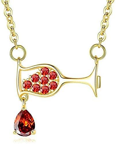 BEISUOSIBYW Co.,Ltd Collar Elegante de Moda Collar de Mujer Copa de Vino Collar de circón Collar de Cristal Collares de Fiesta Simples