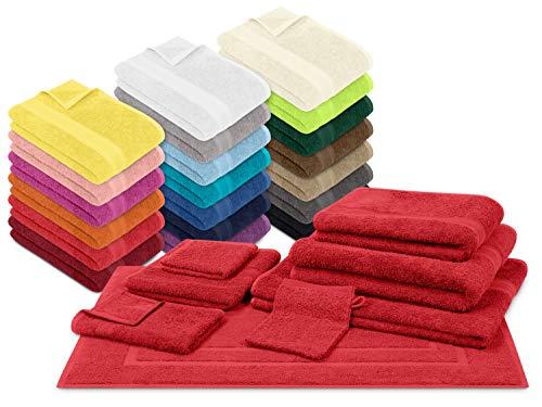 npluseins Packs zum Sparpreis - solide Frottiertücher - erhältlich in 20 modernen Farben und 8 verschiedenen Größen, 6er Pack Gästetücher (30 x 50 cm), rot