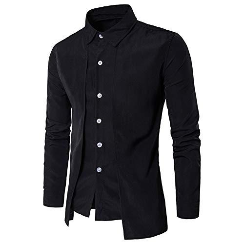laamei Herren Hemd Stehkragen Steampunk Gothic Vintage Slim Fit Einfarbig Langarmhemd (XL(EU L), Schwarz)