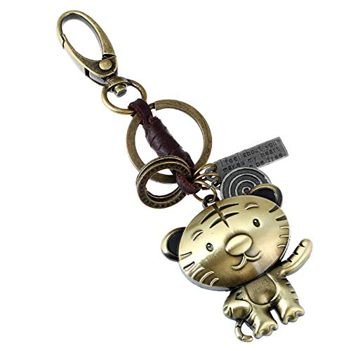 Qinlee Retro Schlüsselanhänger Kupferfarbe Tier Schlüsselring Rucksack Auto Anhänger Ornament Lederweberei Schlüsselbund Mode Zubehör für Unisex (Tiger)