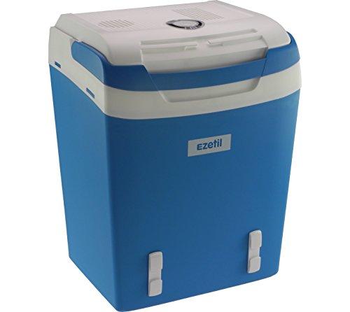 EZetil Koelbox, draagbare thermo-elektrische koelbox, 12 V en 230 V, voor auto/vrachtwagen/boot/stopcontact, blauw-wit Elektrische koelbox. 29 Liter staalblauw