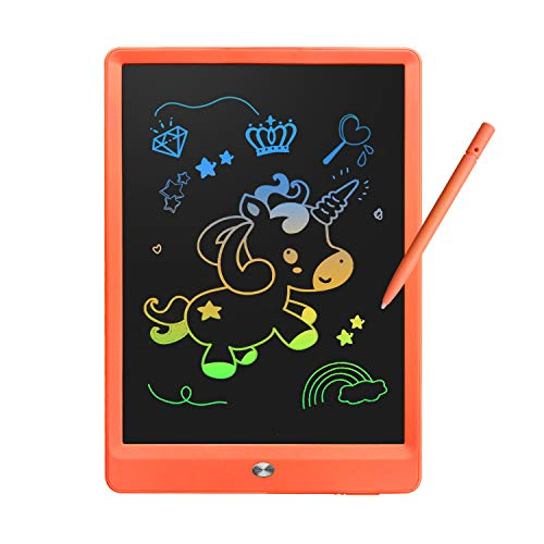 Derabika Learning Toys for 3 4 5 6 7 Girls Boys Gifts, 10 Inch Colorful LCD Writing Tablet Drawing Board, Electronic Doodle Board for Kids Christmas Birthday Present for Girls Boys Age 2-7 (Orange)