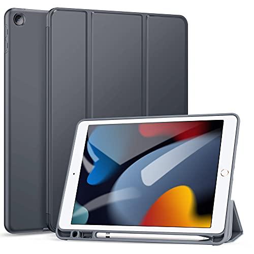 ZtotopHülle für Neu iPad 9/8/7 Generation Hülle mit Stifthalter, Superdünne Soft TPU Rückseite Abdeckung Schutzhülle, Auto Schlaf/Aufwach für iPad 10,2 Zoll 2021/2020/2019, Grau