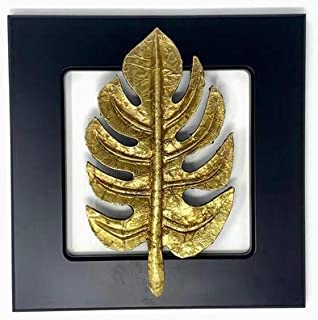 Aalokik Art Handcrafted Forest Artistic Leaf Wall Art Made of Brass Metal Cladding with Carved Wood for Luxurious Wall Dec...