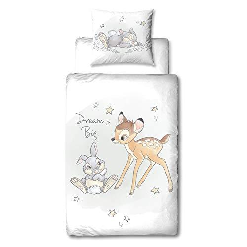 Bambi Disney Juego de ropa de cama para niñas, ropa de cama para adolescentes, REH & Hase Klopfer, funda de almohada 80 x 80 + funda nórdica 135 x 200 cm – 100% algodón