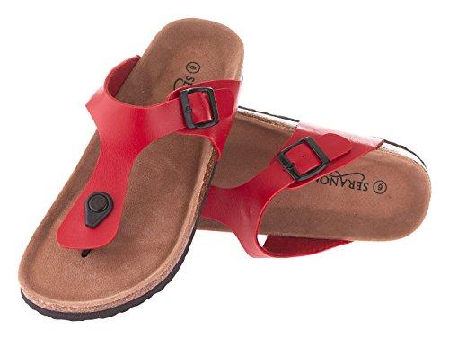 Seranoma Women's Thong Cork Sandal | Open Toe Slide | Flat Footbed