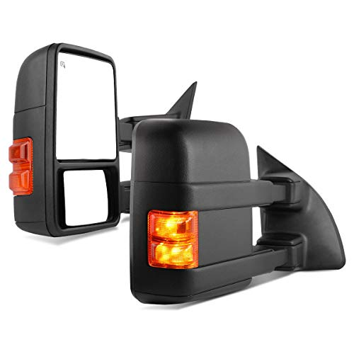 Maxiii Towing Mirrors Compatible with Ford F250/F350/F450/F550 99-07, 01-05 Excursion Extend Mirror Smoke Amber Lamp Cover Power Heated LED Turn Signal Light Manual Telescoping/Fold Rear view Mirror