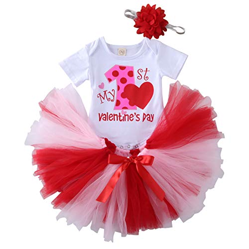 Muasaaluxi Conjunto de 3 piezas de body de manga corta + tutú de tul rojo + banda para bebé Valentine 's Day Bianco+rosa 0-3 Meses