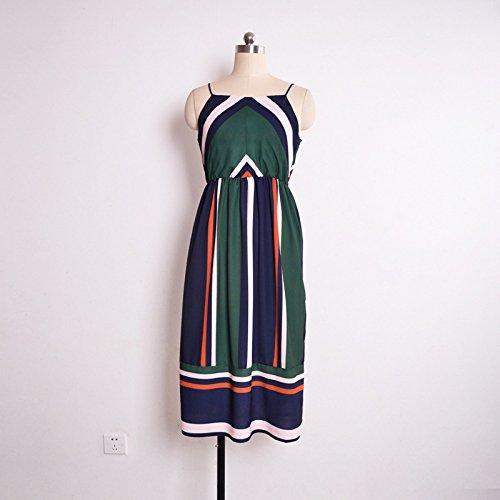 YELINGYUE Damen Sling Gestreifte Midi Ärmelloses Sexy-Kleid Sommer A-Line Stell, 7709-1, S