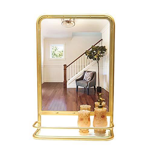 Cqing Modern Goud Rechthoek Metalen Wandspiegel Badkamer Wandopknoping Vanity Spiegel Gepolijst Rand met Plank, 17×26 Inch