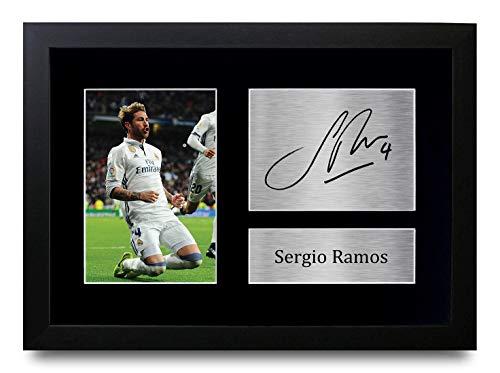 HWC Trading Sergio Ramos A4 Gerahmte Signiert Gedruckt Autogramme Bild Druck-Fotoanzeige Geschenk Für Real Madrid Fußball Fans