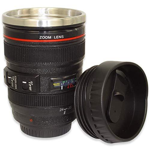 mtb more energy Becher to-Go ''Paparazzis Best Friend'' mit Deckel - 0,4l - Edelstahl-Einsatz - Kamera Linse Objektiv Kaffee Tasse Thermo