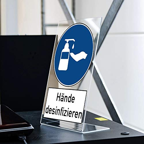 Acryl Aufsteller Hände desinfizieren (ca. 200x300 mm)