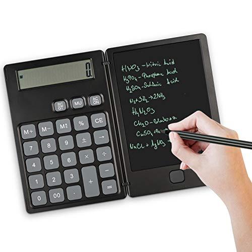 NEWYES Standard Taschenrechner und Schreibtafel 2 in 1 Mutifunktionen,6,5 Zoll LCD Display mit Stift,für Rechnen, Notizen, Schreiben (Schwarz)