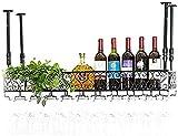 ZJYWMM Estante para Vino Estante para Vino de Techo, Bar, Restaurante, Colgante, Estante para Copas de Vino, Estante de Almacenamiento de Hierro de Metal Copas de Copa de champán para Vin