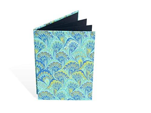 Leporello für Fotos, 12 x 17,5 cm, Faltbuch, Einklebealbum, Marmor-Papier blau, Hochformat, für 14 Bilder
