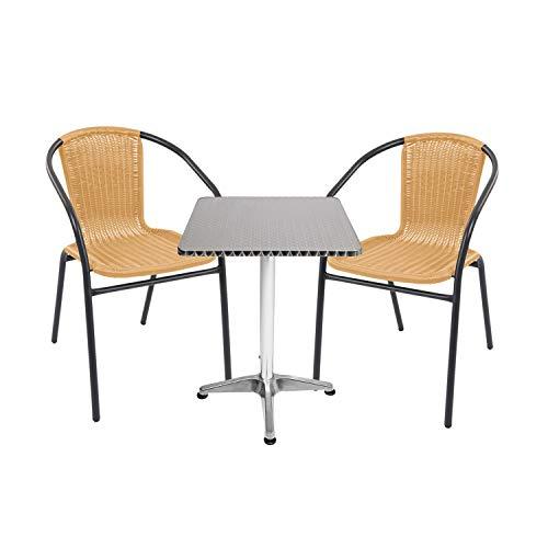 Mojawo Multistore 2002 - Juego de mesa y 2 sillas apilables (60 x 60 cm, altura de 70 cm, altura regulable de 110 cm, acero y ratán), color beige