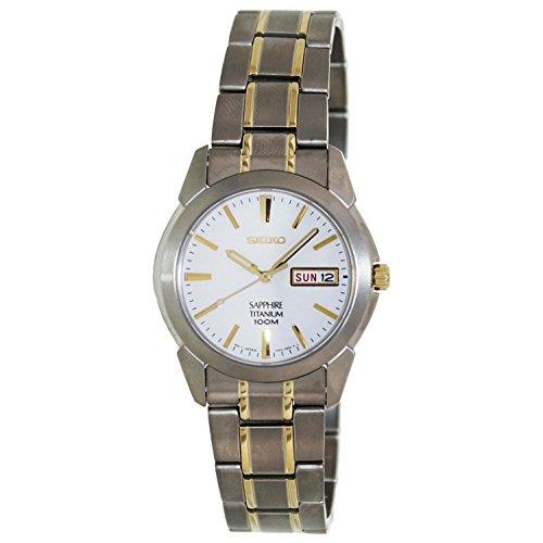 Seiko analoog kwartshorloge voor heren met titanium armband SGG733P1