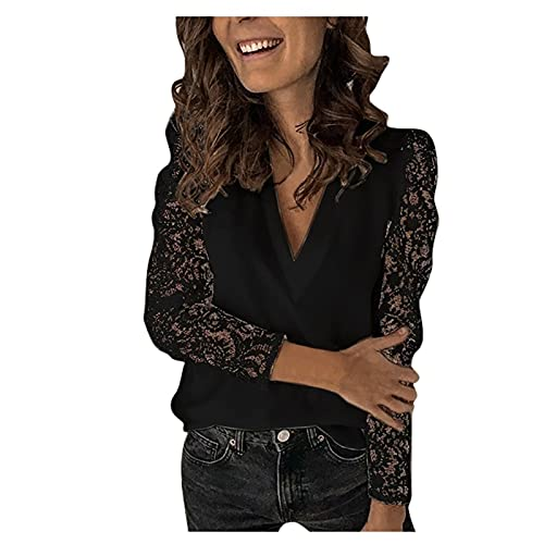 Shineshae Bluse Damen Elegant Langarm Spitze Oberteile Mode V-Ausschnitt Tops Einfarbig Business Blusen Sommer T-Shirt Top Tuniken