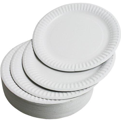 100 Pack - Party Paper Plates 9 inch 23cm Wegwerp Groot Biologisch afbreekbaar Milieuvriendelijk voor Kinderen Volwassenen Wit voor Kinderfeestjes | Buffetten | Picnics | BBQ's | Bruiloften | Camping Outdoor