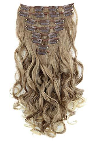 PRETTYSHOP XL 45cm 7 Teile Set CLIP IN EXTENSIONS Haarverlängerung Haarteil Voluminös Gewellt Braun Blond CE20-1
