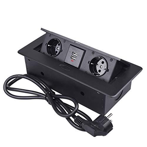 Invisible Power Multimedia Desktop Socket Placa De Aleación De Zinc Incorporada Slow POP UP 2 Enchufe De La UE Puerto De Carga USB Dual 2.1A Salida De Mesa De Oficina Con Enchufe De Extens(Size:negro)
