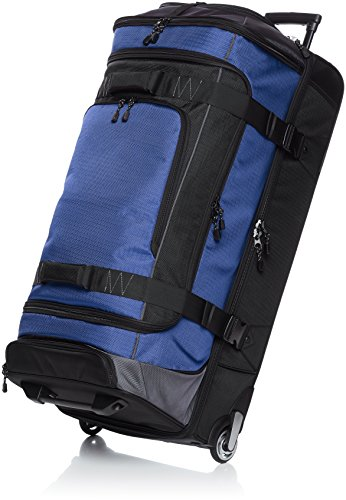 AmazonBasics Ripstop Rolling Travel Luggage Duffle Bag With Wheels - 37 Inch, Blue