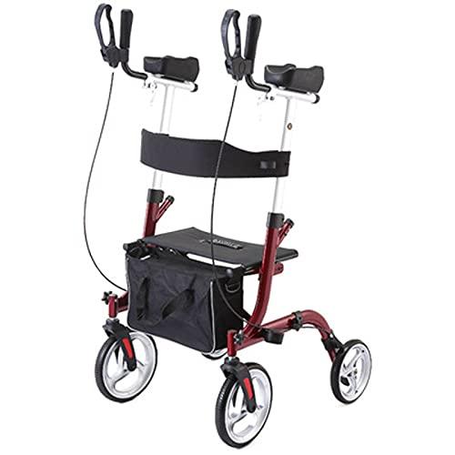 LHMYHHH Aufrechter Rollator, zusammenklappbarer Rollator-Walker mit Rädern, Sitz und gepolsterten Armlehnen für Senioren und Erwachsene 4 Räder + Sitz,Rot